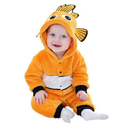 (uniquetj Unisex Baby Romper Flannel Nemo Onesie Pajamas Jumpsuit Cosplay Coustumes (6-12)