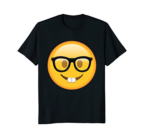 Mens Popular Nerd with Glasses T shirt Emoticon Nerdy Side Tshirt Small - Guys Glasses Nerd With