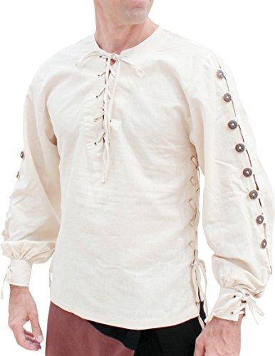 (Svenine Medieval Button Sleeve Hemp Shirt Renaissance Festival Pirate Costume, X-Large, Off-White)