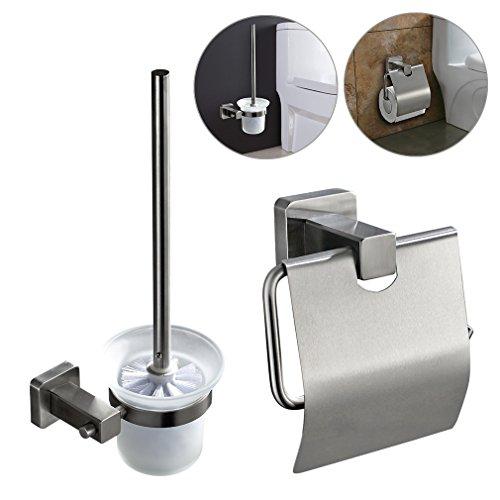 ARUHE® WC Set Garnitur Toilettenbürste Bürste Rollenhalter Edelstahl Toilettenpapierhalter mit Papierhalter