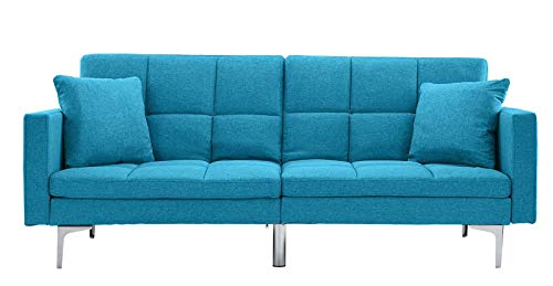 Modern Tufted Convertible Sofa Sleeper - Contemporary Futon Sofa - Upholstered Daybed for Living Room or Guest Room (Sky Blue)