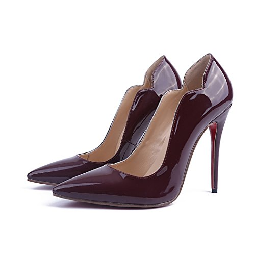 Minitoo Ladies MA04127 Fashion Patent Leather Slender Classic Dress Pumps Wine Red Pcbkij