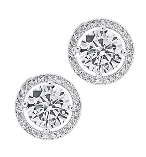 Jade Marie EMPOWERING Silver Halo Stud Earrings, 18k White Gold Plated Earrings with Large CZ Center Stone, Brilliant Pave Halo Stud Earring Set for Women -