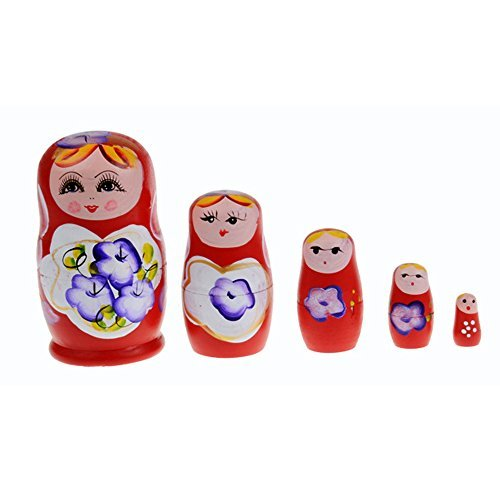 Kasstino 5 in 1 Dolls Wooden Russian Nesting Babushka Matryoshka Hand Painted Gift Toy - Hand Painted Russian Nesting