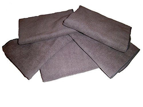 "Show Car Guys 5-Pack of Grey All Purpose Microfiber Towels 16"" X 16""- 300 GSM Professional Towels, and One Bonus Specifically Designed Towel to Clean All Your Glass Spotless."