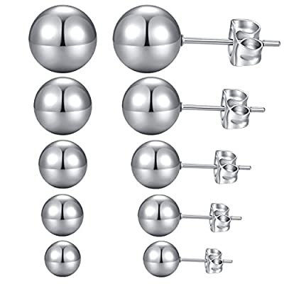 YAN & LEI Stainless Steel Ear Studs Earrings Set of 5