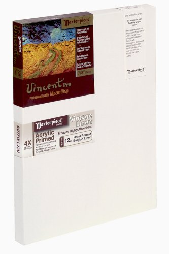 Masterpiece Vincent PRO 7/8'' Deep, 15 x 48 Inch, Vintage Acrylic Primed Belgian Linen Canvas by Masterpiece Artist Canvas