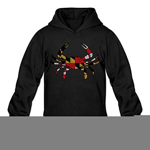 Vintage Maryland Flag Crab Classic Men's Hooded Hoodies Black S]()