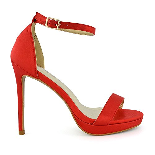 Alla Stiletto Glam Basso Caviglia Rosso Essex Peep Donna Satinato Sandalo Cinturino Tacco Toe wzqqYZ