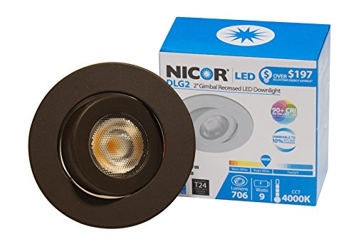 NICOR Lighting 2-Inch Dimmable 3000K LED Gimbal Downlight for NICOR 2-Inch Recessed Housinsg, Oil-Rubbed Bronze (DLG2-10-120-3K-OB) by NICOR Lighting