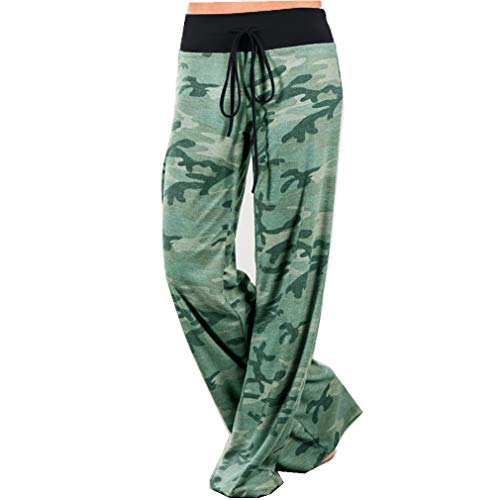 iChunhua Women's High Waist Casual Camo Floral Print Drawstring Wide Leg Pants 3XL Camo ()