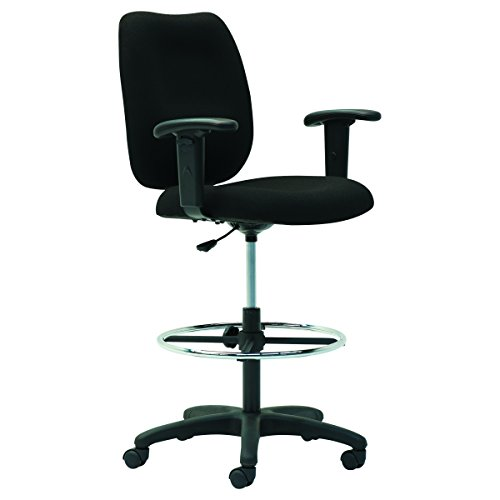 OIF TM4610 Upholstered Mid-Back Stool, Height Adjustable T-Bar Arms, (Height Adjustable T-bar Arms)