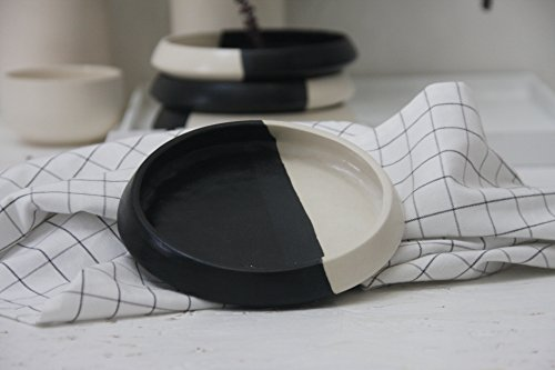Modern cake plate.White and black.unique plate,dessert plate,decorative plate,ceramic side plate,unique serving plate,tableware,housewarming by One and many