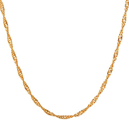 Thin Necklace 18K Gold Plated Slim Twisted Water-wave Singapore Chain 2mm 22 (18k Twisted Necklace)