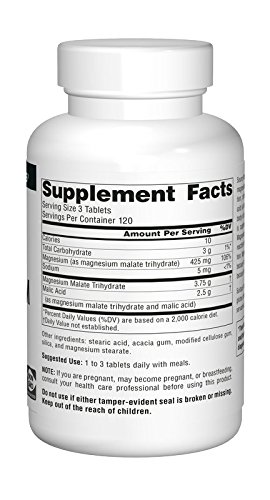 Source Naturals Magnesium Malate 1250mg Supplement Supports Muscle Function, Health and Energy Production - Essential Magnesium Malic Acid Supplement - 360 Tablets