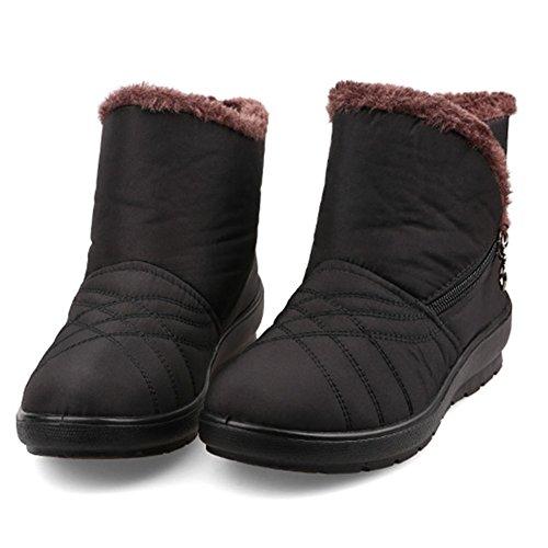 Short Womens Gaatpot Comfy Low Waterproof Heel Boots Winter Snow Shoes Slip Flats Boots Size Boots Warm Ankle Non Fur Black Lining Sx1OFq