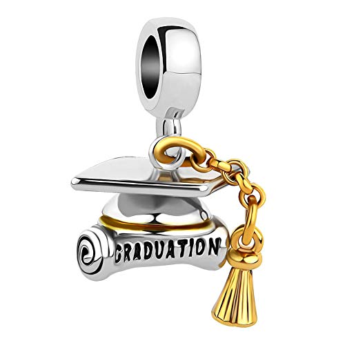 SexyMandala Graduation Hat Cap &Scroll European Style Pendant Charm Beads for Bracelets&Necklaces -