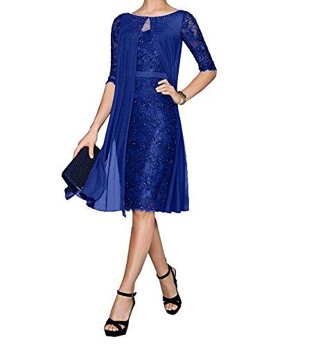 Knielang Blau mit Brautmutterkleider Abendkleider Navy Etuikleider Bolero Festlichkleider Damen Charmant Royal Blau Spitze wx07fzaz