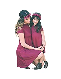 Matoen Mother & Baby Toddler Kids Girl Solid Color Irregular Dress Family Outfits