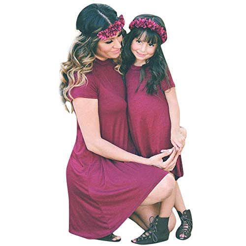 Sikye Mommy and Me Dress Solid O-Neck Irregular Casual Dress Matching Family Loose Top Outfit (Wine, S (Mommy))