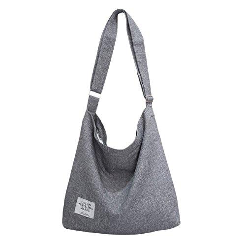 ZIIPOR Women's Canvas Crossbody Bag Casual Hobo Bag Shoulder Bag Shopping Bag (Grey) by ZIIPOR