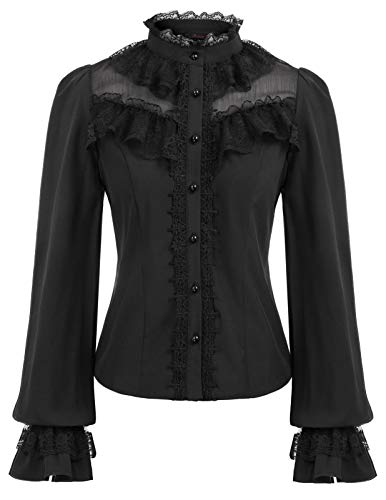 Women's Vintage Stand-Up Collar Ruffled Button Down Blouse Tops Black XXL ()