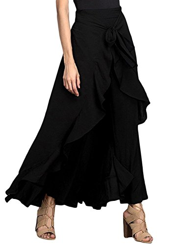 Women Split Tie-Waist Dress Maxi Long Palazzo Overlay Wide Leg Pant Skirts (Blouse Skirt Pants)