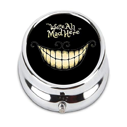 Ted GIen Cheshire Cat Unique Customization Stainless Steel Round Pill Case Box Holder,Durable Fashion Storage Box, Wallet by