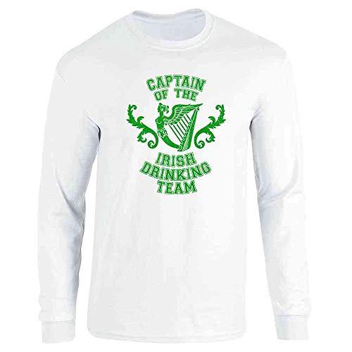 (Pop Threads Captain of The Irish Drinking Team St Patricks Day White L Long Sleeve T-Shirt)