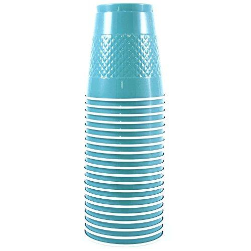 JAM Paper Plastic Cups - 12 oz - Sea Blue - 20/pack