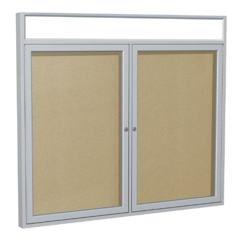 Headliner Cork Bulletin Board - Ghent 3 x 4 Inches Outdoor Satin Frame Enclosed Vinyl Bulletin Board with Headliner , Caramel , Made in the USA