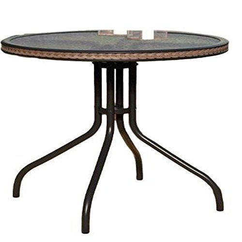 Round Metal Patio Side Table Garden Side Patio Table Outdoor Small End Table Backyard Outside Furniture & E book By AllTim3Shopping