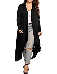 Women's Plus Size Long Sleeve Waterfall Asymmetric Drape...