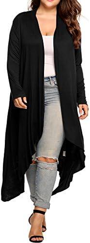 Cárdigan largo asimétrico, abierto, mangas largas, tamaño grande, para mujer