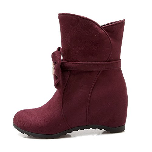 AgooLar On Closed Boots Kitten Pull Claret Round Frosted Toe Heels Women's Solid zBqSr6Awzx