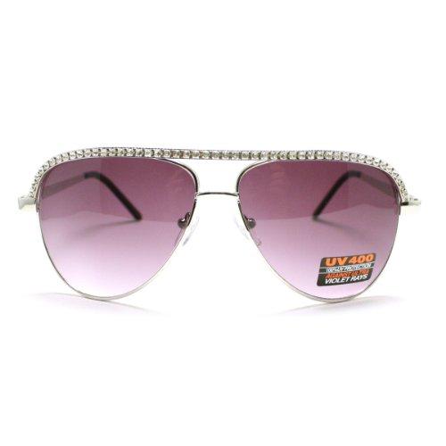 Silver Rhinestone Trimmed Aviator Sunglasses