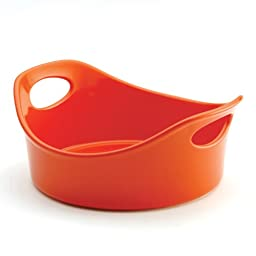 Rachael Ray Stoneware 2-Piece Bubble & Brown Round Baker Set, Orange