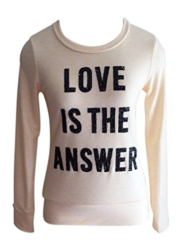 [Pink Buddha Love Is The Answer Super Soft Fitted Sparkle Long Sleeve Yoga Fashion Spiritual Graphic Print Tee SweatShirt (med, light orange)] (Buddha Fitted T-shirt)