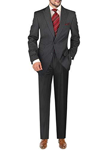 - DTI GV Executive Italian Men's 2 Button Wool Suit Peak Lapel Jacket 2 Piece (54 Long US / 64L EU/W 48