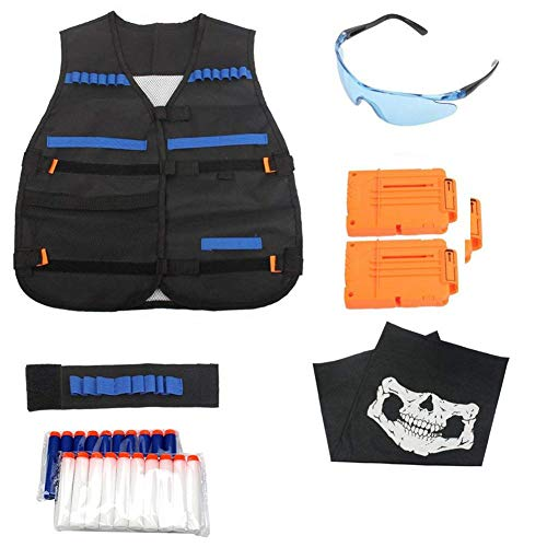 T-best Tactical Vest Kit for Nerf Gun N-Strike Elite Series with 20 pcs Refill Darts, 2 pcs 6-Dart Quick Reload Clips, Wrist Ammo Holder, Safety Glasses, Face Mask ()