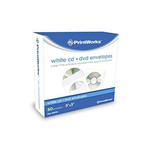 """Printworks CD/DVD Envelopes, FSC Certified, 50 Count, 5"""" x 5"""" (00493)"""