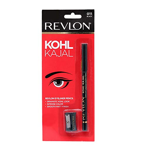 Revlon Kohl Kajal Eye Liner Pencil With Sharpener, Black, 1.14g