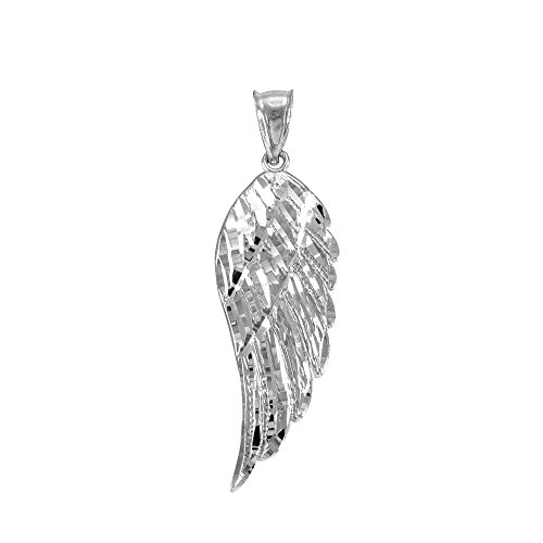 (Religious Jewelry by FDJ Textured 925 Sterling Silver Angel Wing Charm Pendant)