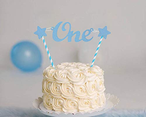 WAOUH One Cake Topper for Baby Boy - First Birthday Birthday Cake Decoration,Blue One Birthday Decorations for Photo Booth Props,Best Party Supplies for 1st Birthday (Blue one Cake Topper)