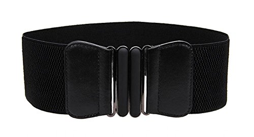 - VOCHIC Wide Elastic Plus Size Belt for Women Cinch Waist Belt Stretch Waistband, Black, L(30