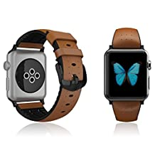 Apple Watch 38mm Series 1 / 2 Strap Patchworks Air Strap in Brown - Premium Genuine Leather Band Replacement Bracelet Strap Dual Material Structure