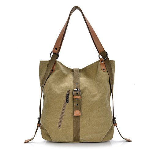 Esimen Fashion Women Shoulder Bag Convertible Backpack Purse Ladies Casual Rucksack Canvas Bag Handbag(Khaki) by Esimen