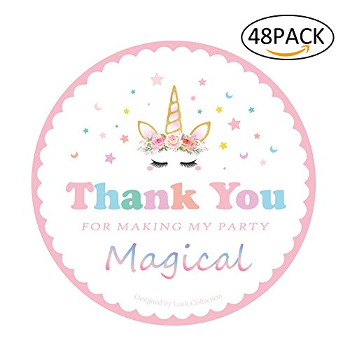Magical Unicorn Stickers Thank you Stickers for Unicorn Party Supplies 48 (Princess Collection Guest Book)