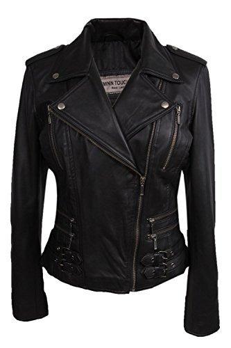 Damen Frauen 100% Echtes Leder Bikerjacke Schwarz Ausgestattet Bikers Stil Vintage Rock