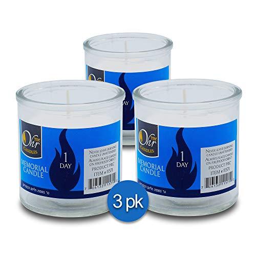 Ohr-1-Day-Yahrzeit-Candle-3-Pack-24-Hour-Kosher-Yahrtzeit-Memorial-Yom-Kippur-Candle-in-Glass-Jar